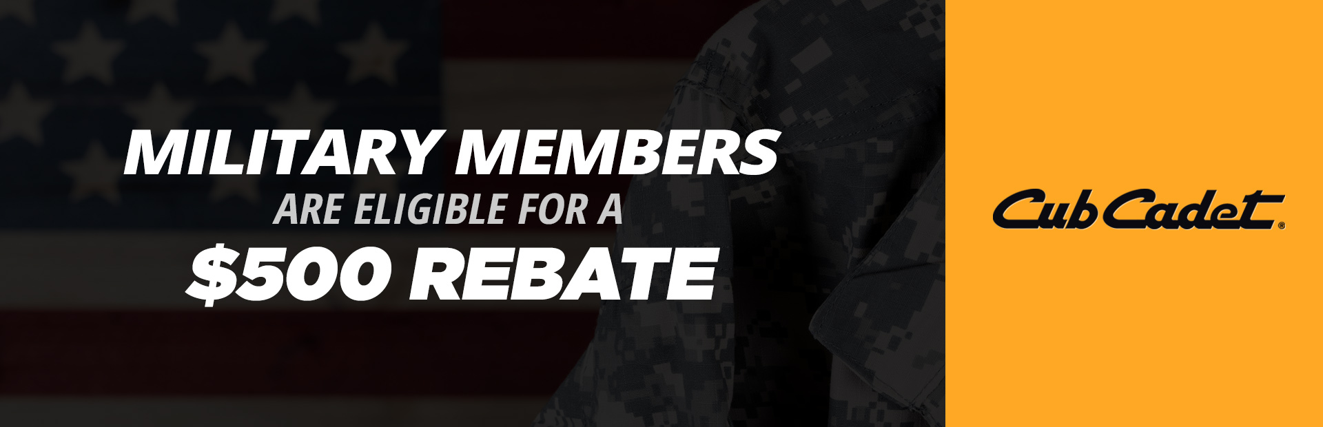 Cub Cadet: Military Members Are Eligible For A $500 Rebate